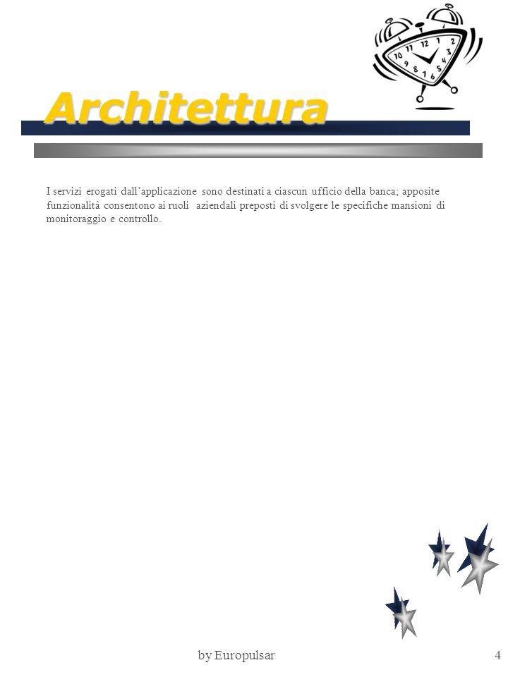 by Europulsar4 Architettura I servizi erogati dall'applicazione sono destinati a ciascun ufficio della banca; apposite funzionalità consentono ai ruoli aziendali preposti di svolgere le specifiche mansioni di monitoraggio e controllo.