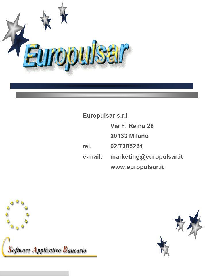 Europulsar s.r.l Via F. Reina 28 20133 Milano tel. 02/7385261 e-mail:marketing@europulsar.it www.europulsar.it
