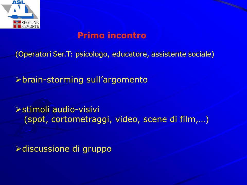 Primo incontro (Operatori Ser.T: psicologo, educatore, assistente sociale)  brain-storming sull'argomento  stimoli audio-visivi (spot, cortometraggi