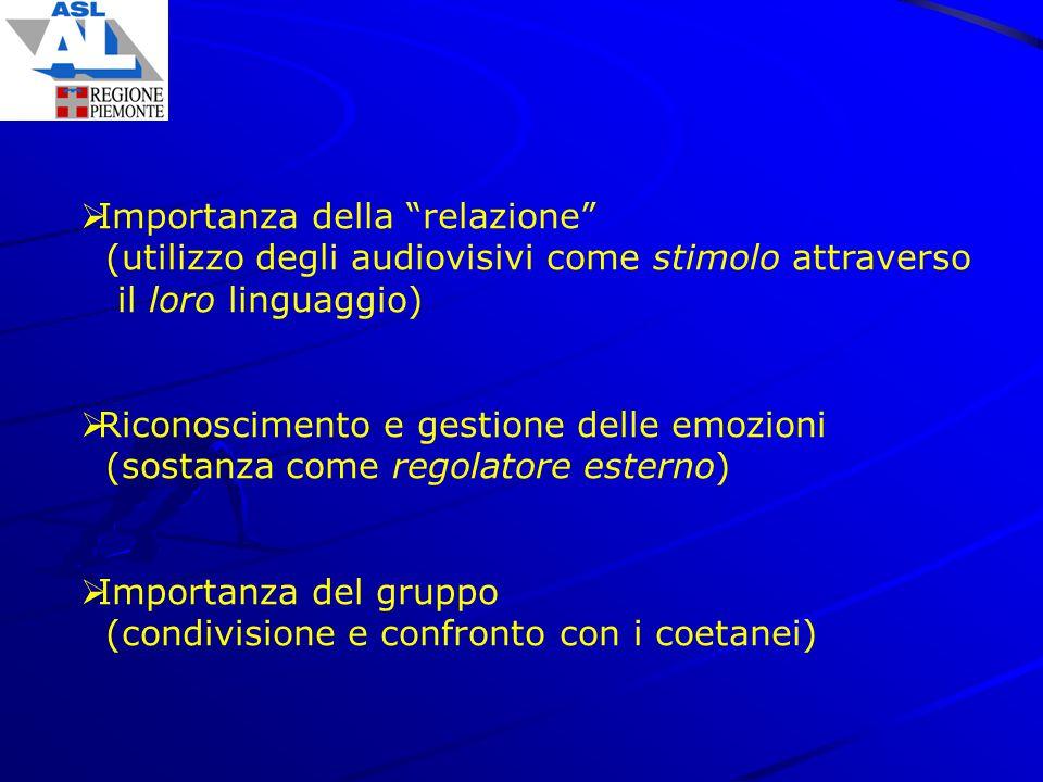 """ Importanza della """"relazione"""" (utilizzo degli audiovisivi come stimolo attraverso il loro linguaggio)  Riconoscimento e gestione delle emozioni (sos"""