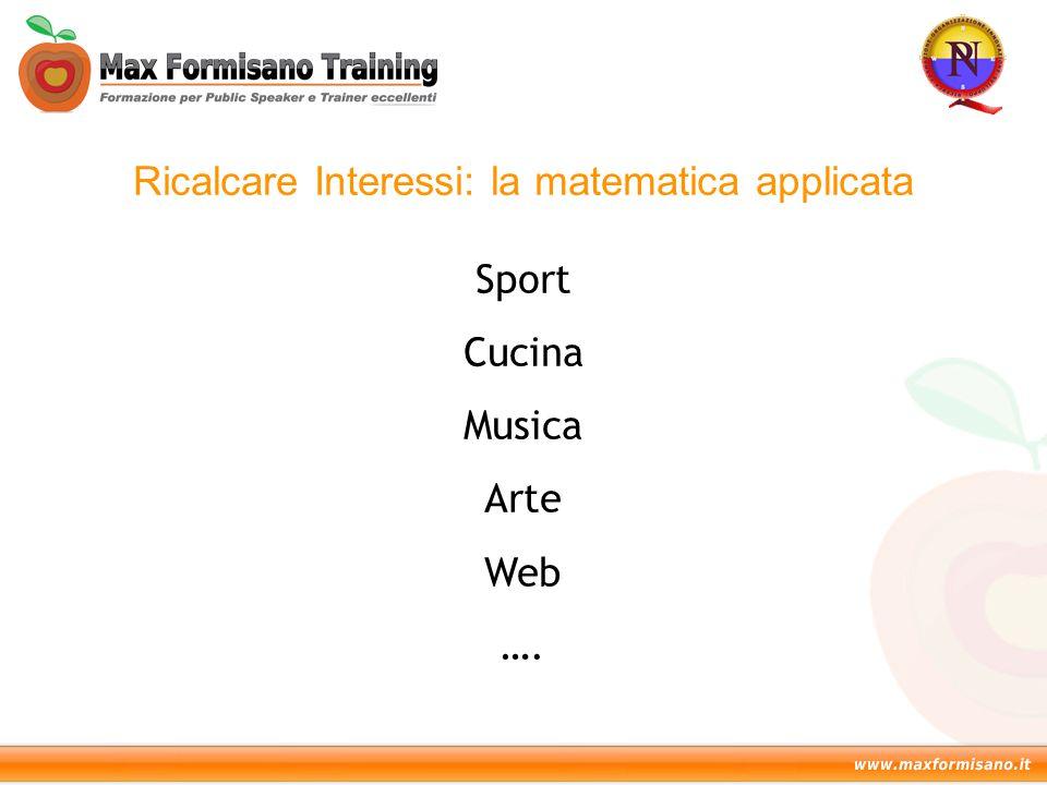 Ricalcare Interessi: la matematica applicata Sport Cucina Musica Arte Web ….