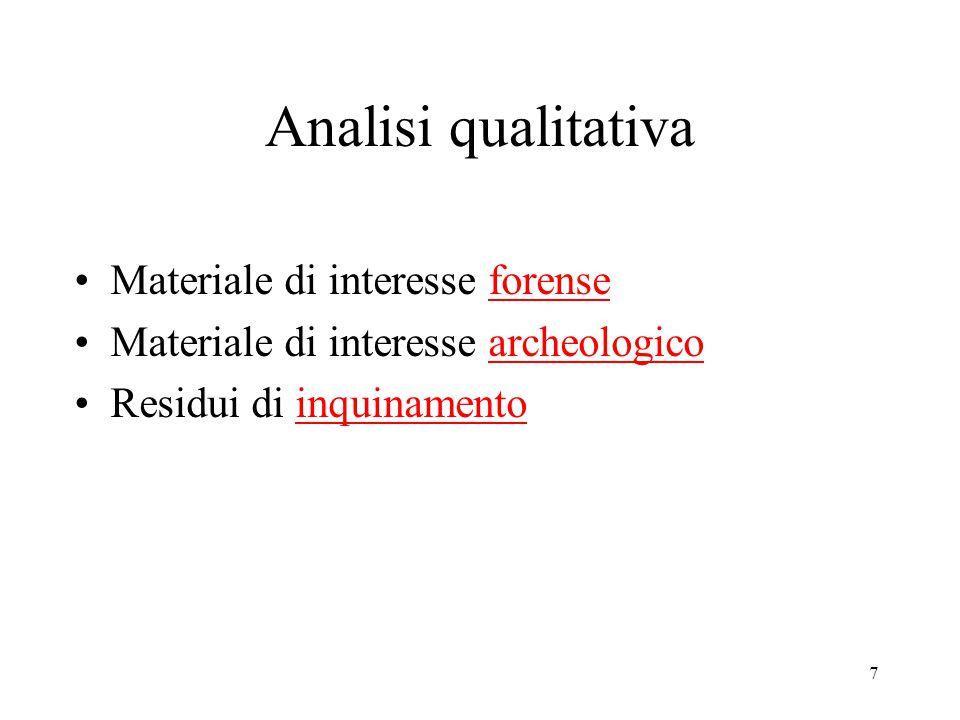 Analisi qualitativa Materiale di interesse forense Materiale di interesse archeologico Residui di inquinamento 7