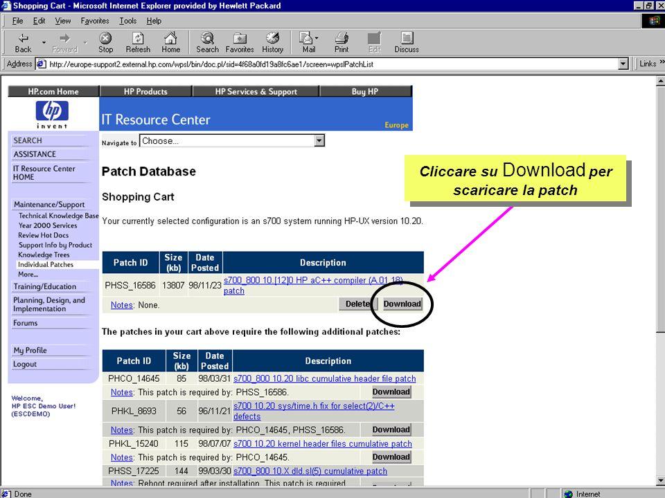 Customer Support Research & Development Cliccare su Download per scaricare la patch