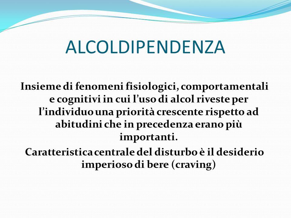 I NUMERI DELL'ALCOL In Italia: Un milione di alcoldipendenti 8 milioni di consumatori di alcol a rischio Incidenza del 3% sulla mortalità complessiva ISTAT 2012