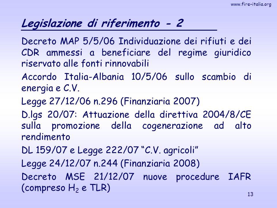 www.fire-italia.org 13 Legislazione di riferimento - 2 Decreto MAP 5/5/06 Individuazione dei rifiuti e dei CDR ammessi a beneficiare del regime giuridico riservato alle fonti rinnovabili Accordo Italia-Albania 10/5/06 sullo scambio di energia e C.V.