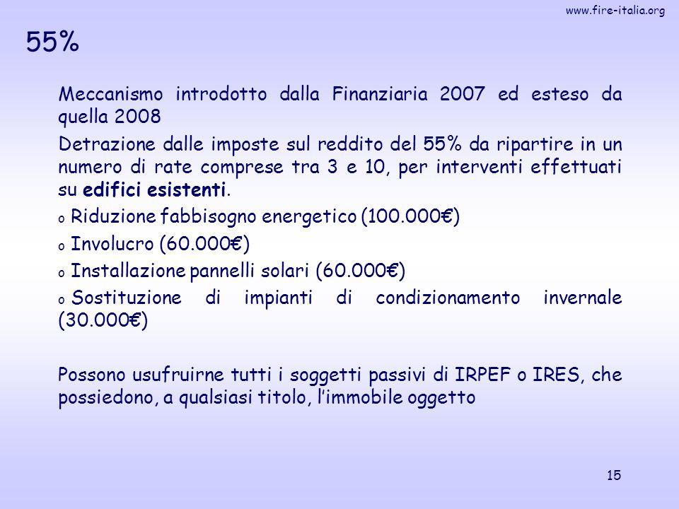 www.fire-italia.org 15 55% Meccanismo introdotto dalla Finanziaria 2007 ed esteso da quella 2008 Detrazione dalle imposte sul reddito del 55% da ripartire in un numero di rate comprese tra 3 e 10, per interventi effettuati su edifici esistenti.