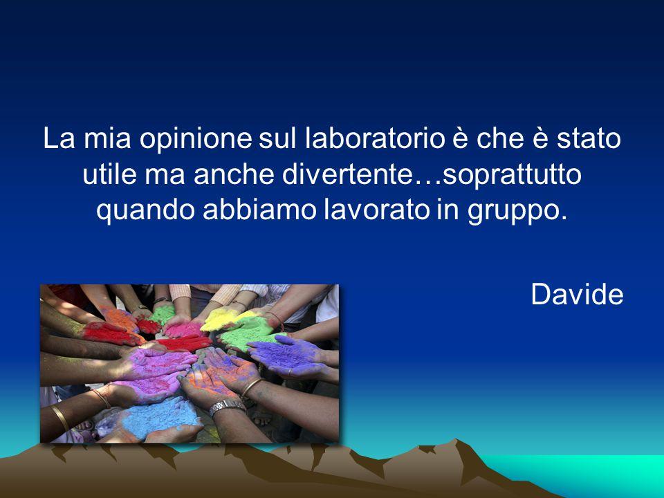 La mia opinione sul laboratorio è che è stato utile ma anche divertente…soprattutto quando abbiamo lavorato in gruppo. Davide