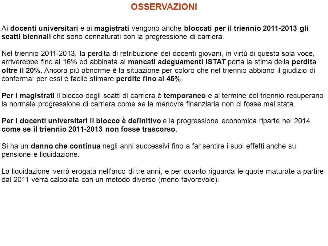Ai docenti universitari e ai magistrati vengono anche bloccati per il triennio 2011-2013 gli scatti biennali che sono connaturati con la progressione di carriera.