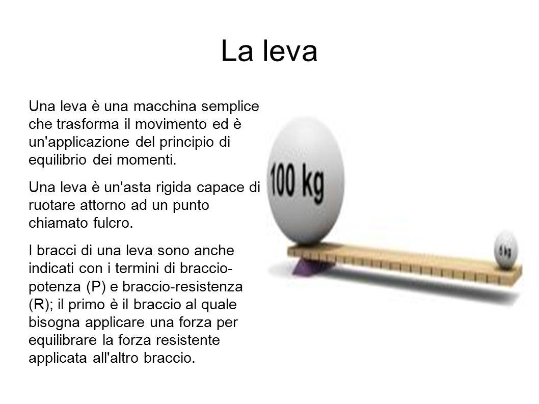 La leva Una leva è una macchina semplice che trasforma il movimento ed è un'applicazione del principio di equilibrio dei momenti. Una leva è un'asta r