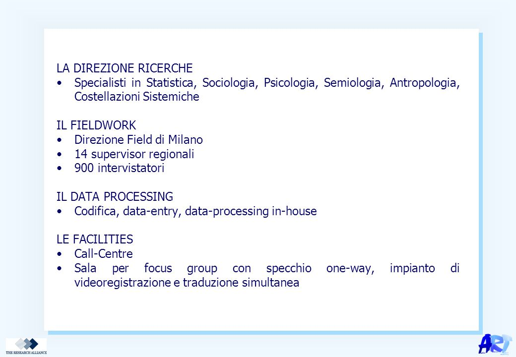 LA DIREZIONE RICERCHE Specialisti in Statistica, Sociologia, Psicologia, Semiologia, Antropologia, Costellazioni Sistemiche IL FIELDWORK Direzione Field di Milano 14 supervisor regionali 900 intervistatori IL DATA PROCESSING Codifica, data-entry, data-processing in-house LE FACILITIES Call-Centre Sala per focus group con specchio one-way, impianto di videoregistrazione e traduzione simultanea