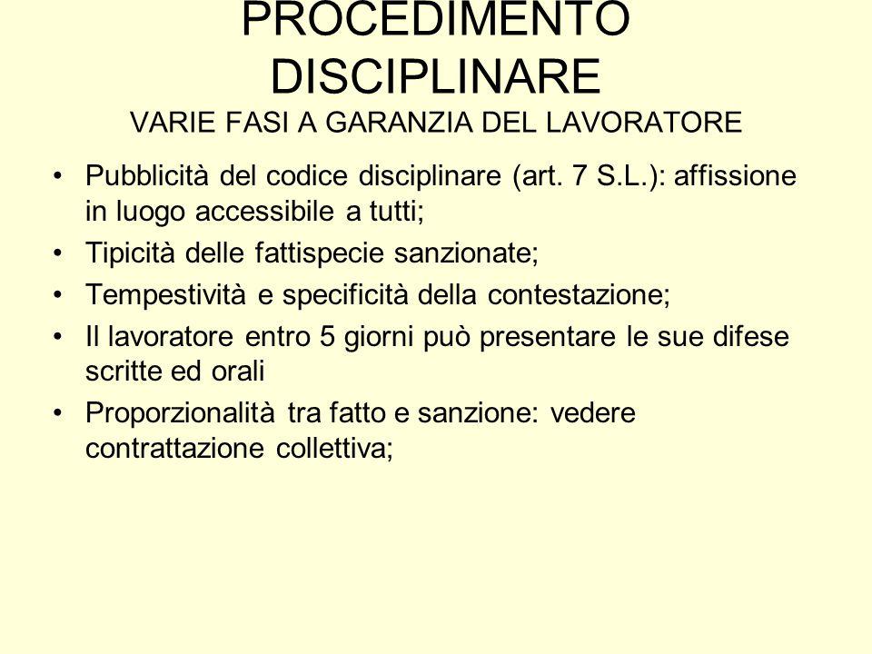 PROCEDIMENTO DISCIPLINARE VARIE FASI A GARANZIA DEL LAVORATORE Pubblicità del codice disciplinare (art. 7 S.L.): affissione in luogo accessibile a tut