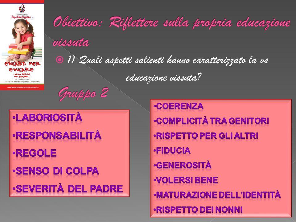  1) Quali aspetti salienti hanno caratterizzato la vs educazione vissuta?