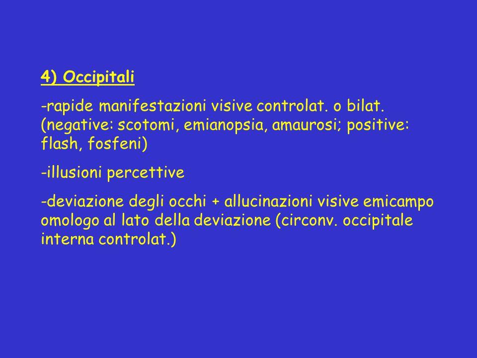4) Occipitali -rapide manifestazioni visive controlat. o bilat. (negative: scotomi, emianopsia, amaurosi; positive: flash, fosfeni) -illusioni percett