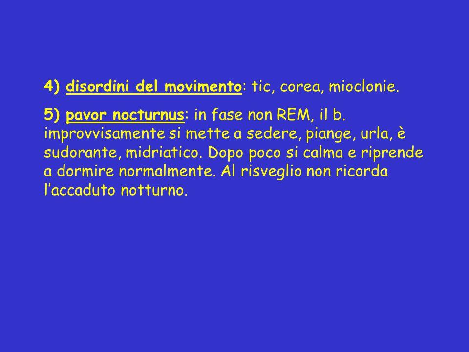 4) disordini del movimento: tic, corea, mioclonie. 5) pavor nocturnus: in fase non REM, il b. improvvisamente si mette a sedere, piange, urla, è sudor