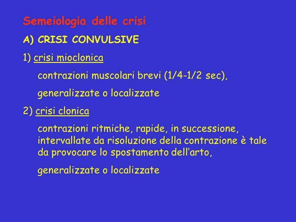 Semeiologia delle crisi A) CRISI CONVULSIVE 1) crisi mioclonica contrazioni muscolari brevi (1/4-1/2 sec), generalizzate o localizzate 2) crisi clonic