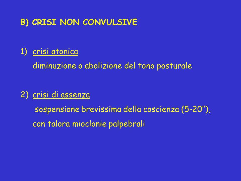 B) CRISI NON CONVULSIVE 1)crisi atonica diminuzione o abolizione del tono posturale 2)crisi di assenza sospensione brevissima della coscienza (5-20'')