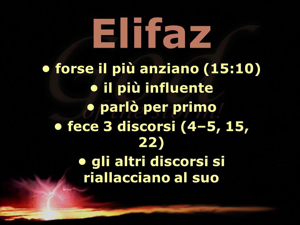 Elifaz forse il più anziano (15:10) forse il più anziano (15:10) il più influente il più influente parlò per primo parlò per primo fece 3 discorsi (4–