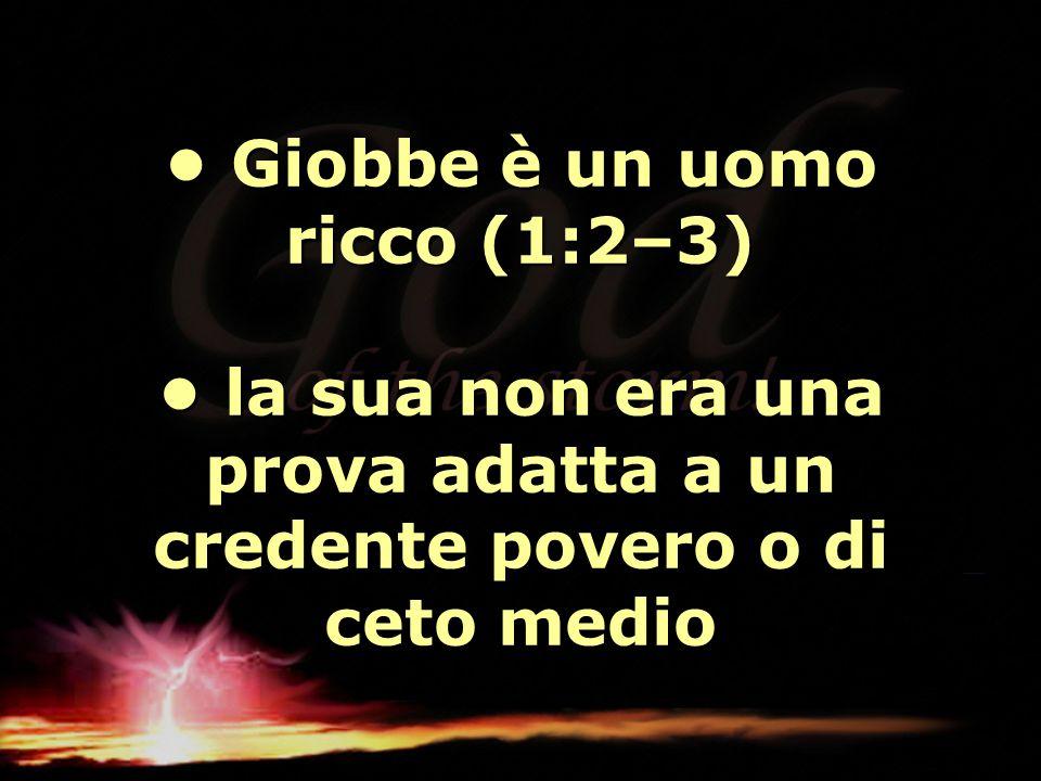 Giobbe è un uomo ricco (1:2–3) la sua non era una prova adatta a un credente povero o di ceto medio Giobbe è un uomo ricco (1:2–3) la sua non era una