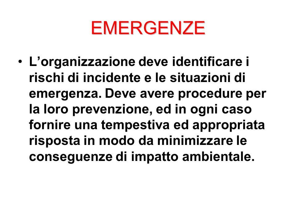 EMERGENZE L'organizzazione deve identificare i rischi di incidente e le situazioni di emergenza.