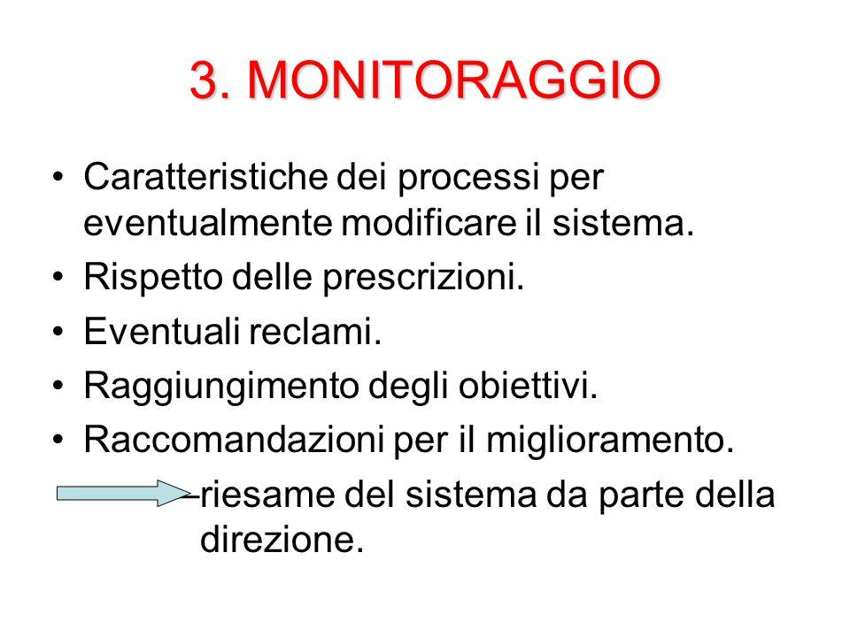 3. MONITORAGGIO Caratteristiche dei processi per eventualmente modificare il sistema.