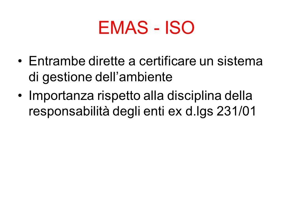 EMAS - ISO Entrambe dirette a certificare un sistema di gestione dell'ambiente Importanza rispetto alla disciplina della responsabilità degli enti ex d.lgs 231/01