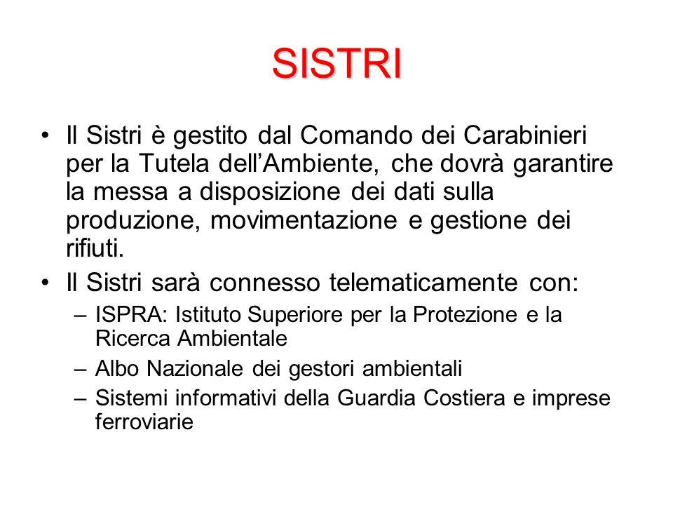 SISTRI Il Sistri è gestito dal Comando dei Carabinieri per la Tutela dell'Ambiente, che dovrà garantire la messa a disposizione dei dati sulla produzione, movimentazione e gestione dei rifiuti.