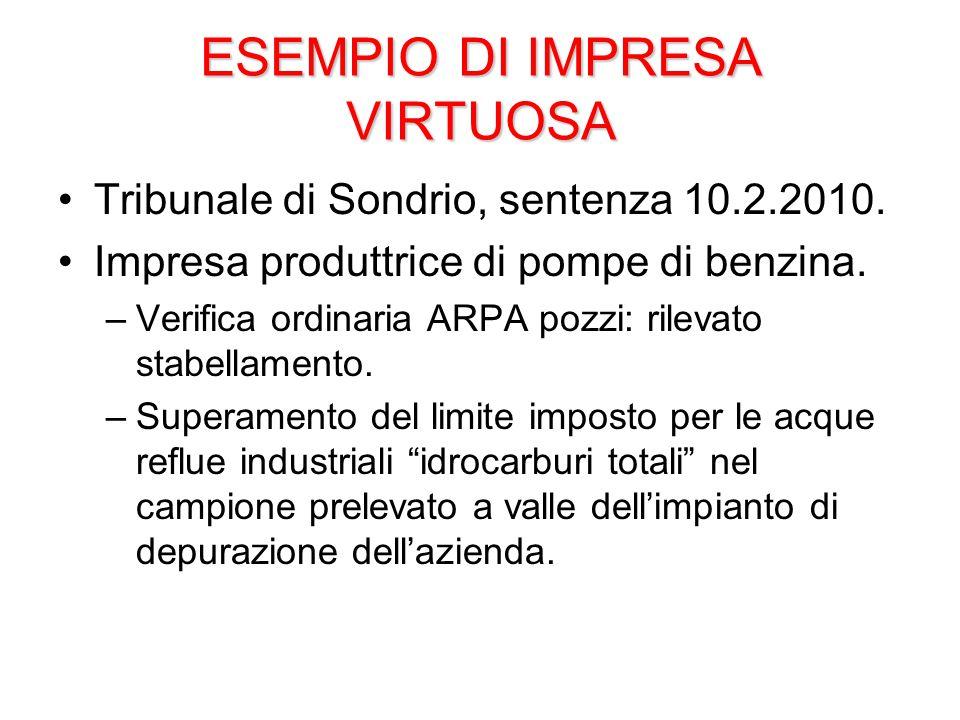 ESEMPIO DI IMPRESA VIRTUOSA Tribunale di Sondrio, sentenza 10.2.2010.