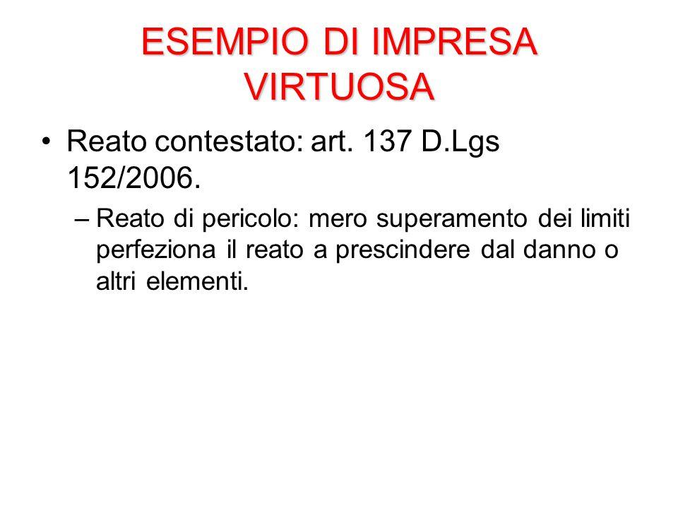 ESEMPIO DI IMPRESA VIRTUOSA Reato contestato: art.