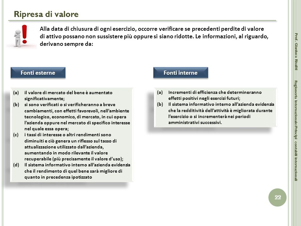 Ripresa di valore Prof. Gianluca Risaliti 22 Ragioneria Internazionale/Principi contabili internazionali Alla data di chiusura di ogni esercizio, occo