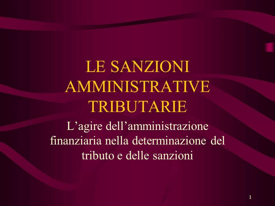 1 LE SANZIONI AMMINISTRATIVE TRIBUTARIE L'agire dell'amministrazione finanziaria nella determinazione del tributo e delle sanzioni