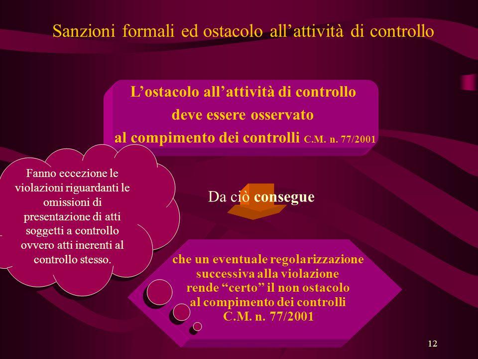 12 Sanzioni formali ed ostacolo all'attività di controllo L'ostacolo all'attività di controllo deve essere osservato al compimento dei controlli C.M.
