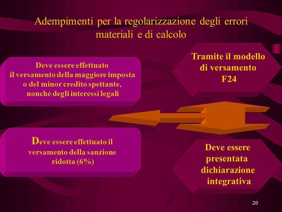 20 Adempimenti per la regolarizzazione degli errori materiali e di calcolo Deve essere effettuato il versamento della maggiore imposta o del minor cre