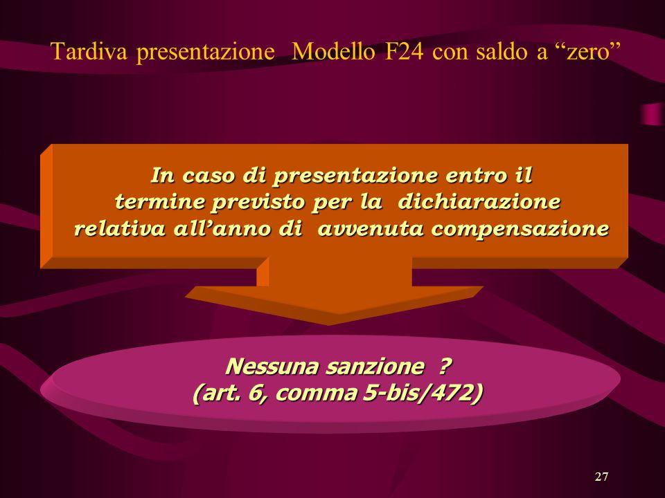 """27 Tardiva presentazione Modello F24 con saldo a """"zero"""" In caso di presentazione entro il termine previsto per la dichiarazione relativa all'anno di a"""