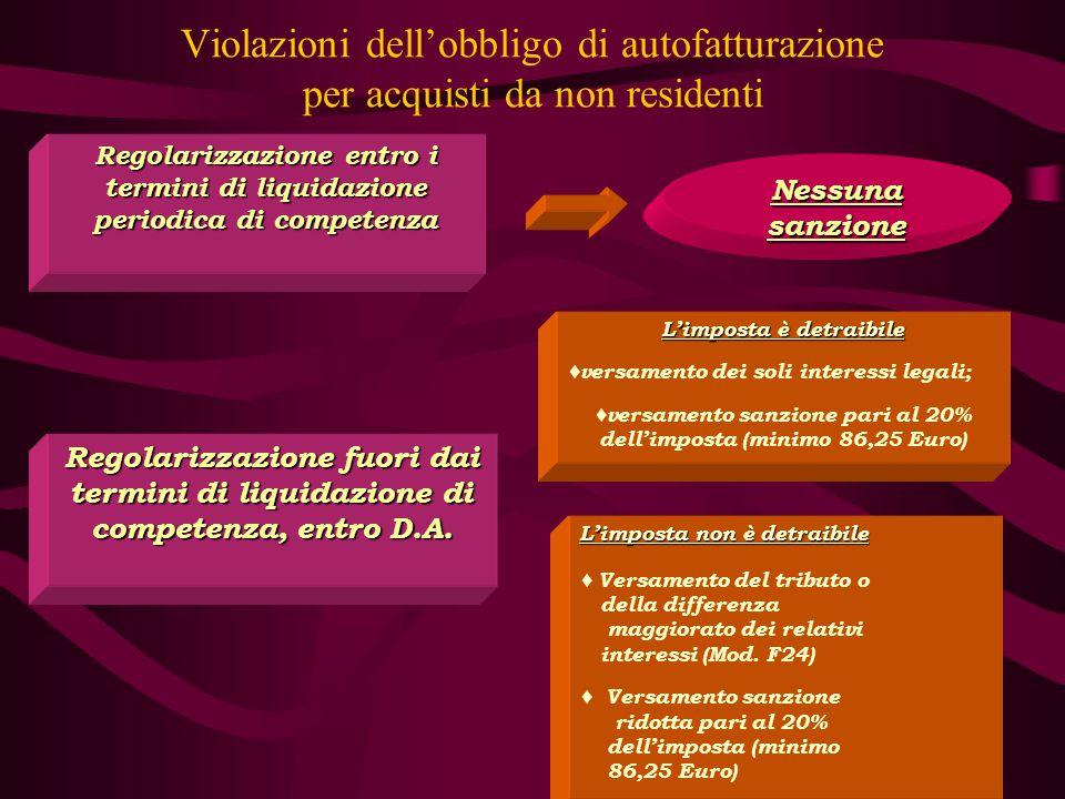 33 Violazioni dell'obbligo di autofatturazione per acquisti da non residenti Regolarizzazione entro i termini di liquidazione periodica di competenza