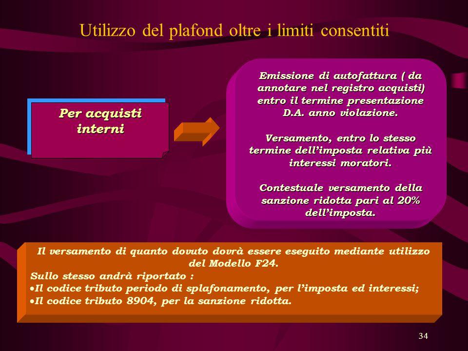 34 Utilizzo del plafond oltre i limiti consentiti Per acquisti interni Emissione di autofattura ( da annotare nel registro acquisti) entro il termine