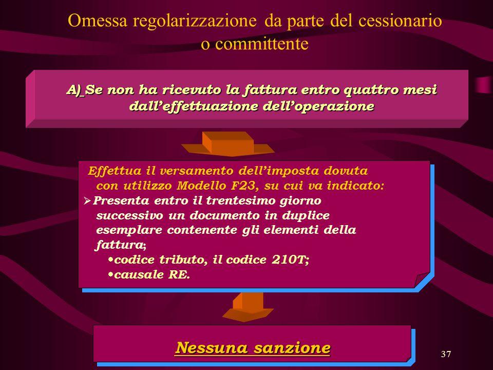 37 Omessa regolarizzazione da parte del cessionario o committente A) Se non ha ricevuto la fattura entro quattro mesi dall'effettuazione dell'operazio