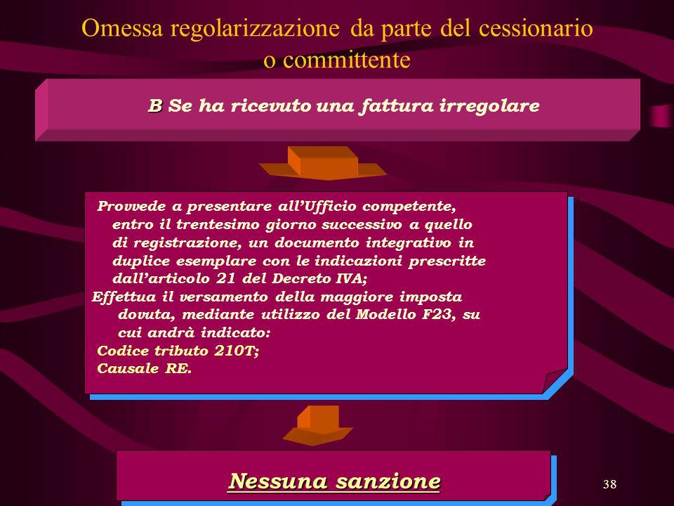 38 Omessa regolarizzazione da parte del cessionario o committente B B Se ha ricevuto una fattura irregolare Provvede a presentare all'Ufficio competen