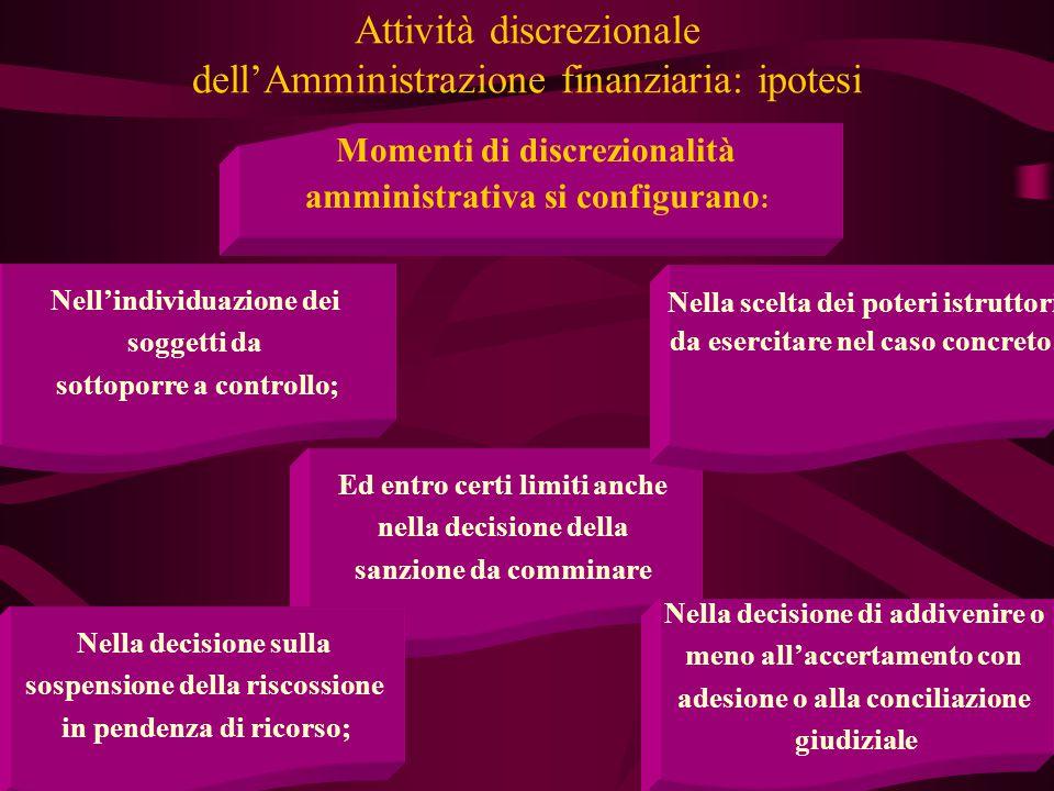 4 Attività discrezionale dell'Amministrazione finanziaria: ipotesi Momenti di discrezionalità amministrativa si configurano : Nell'individuazione dei