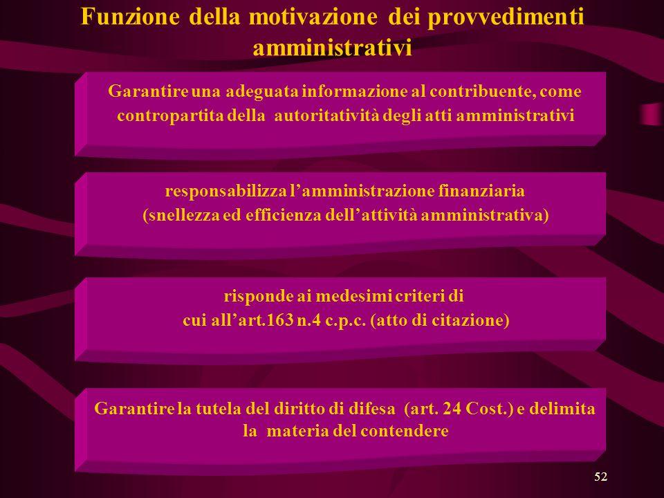 52 Funzione della motivazione dei provvedimenti amministrativi Garantire una adeguata informazione al contribuente, come contropartita della autoritat