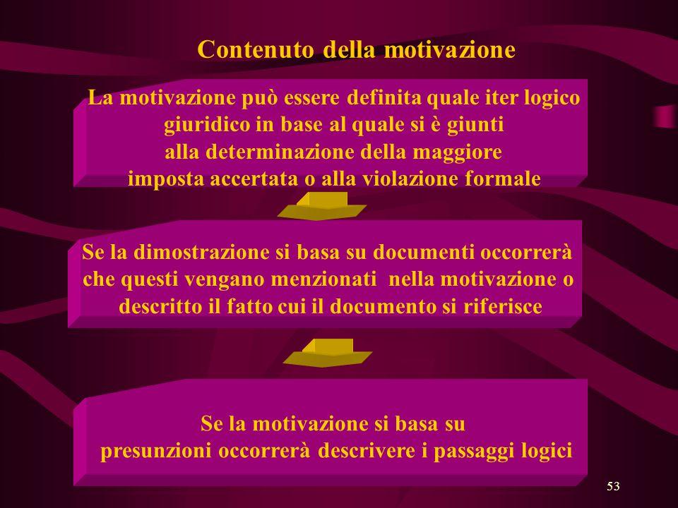 53 Contenuto della motivazione La motivazione può essere definita quale iter logico giuridico in base al quale si è giunti alla determinazione della m