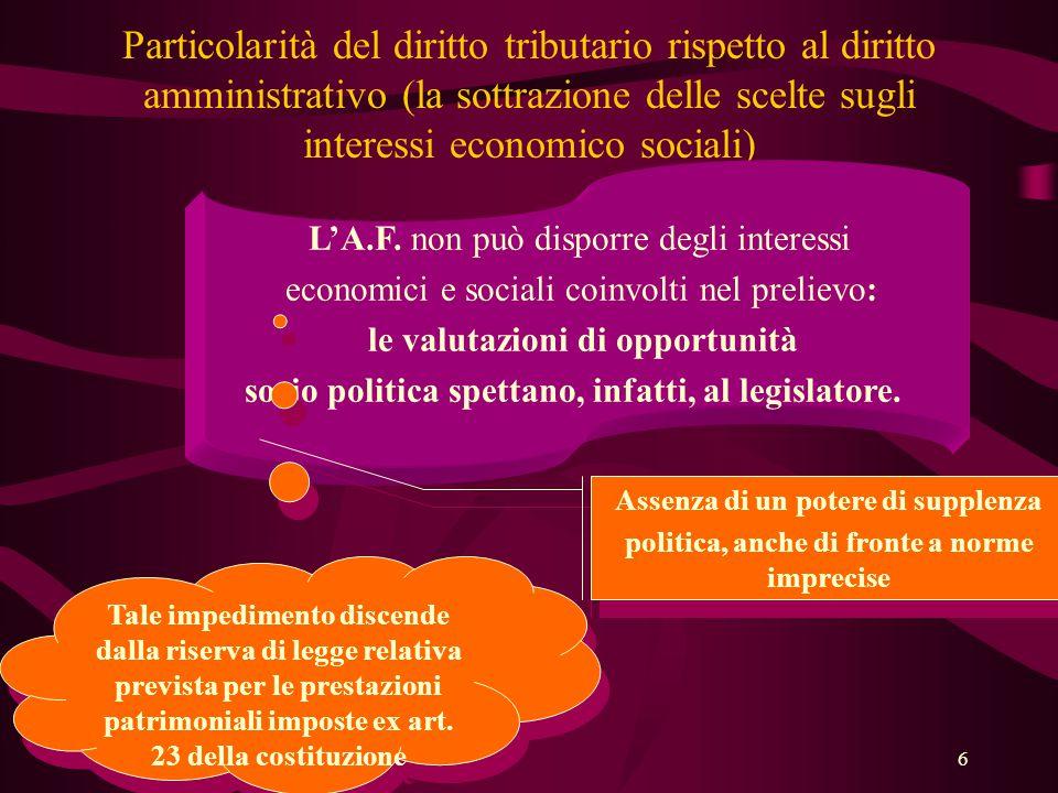 6 Particolarità del diritto tributario rispetto al diritto amministrativo (la sottrazione delle scelte sugli interessi economico sociali) L'A.F. non p