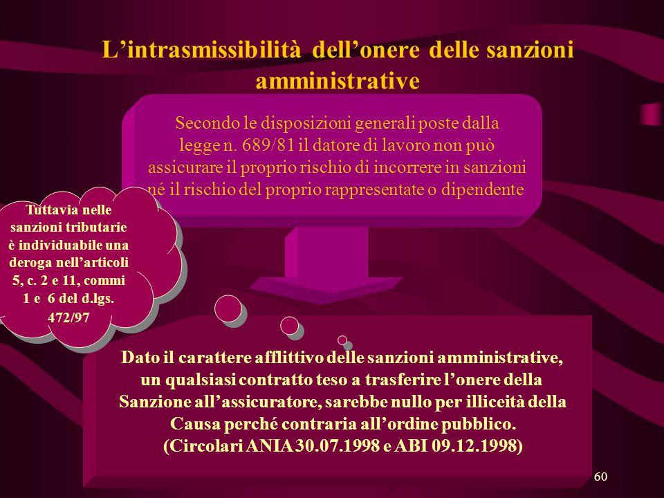 60 L'intrasmissibilità dell'onere delle sanzioni amministrative Secondo le disposizioni generali poste dalla legge n. 689/81 il datore di lavoro non p