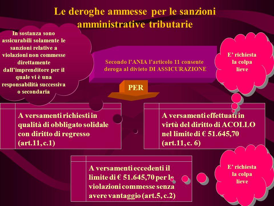 61 Le deroghe ammesse per le sanzioni amministrative tributarie Secondo l'ANIA l'articolo 11 consente deroga al divieto DI ASSICURAZIONE PER A versame