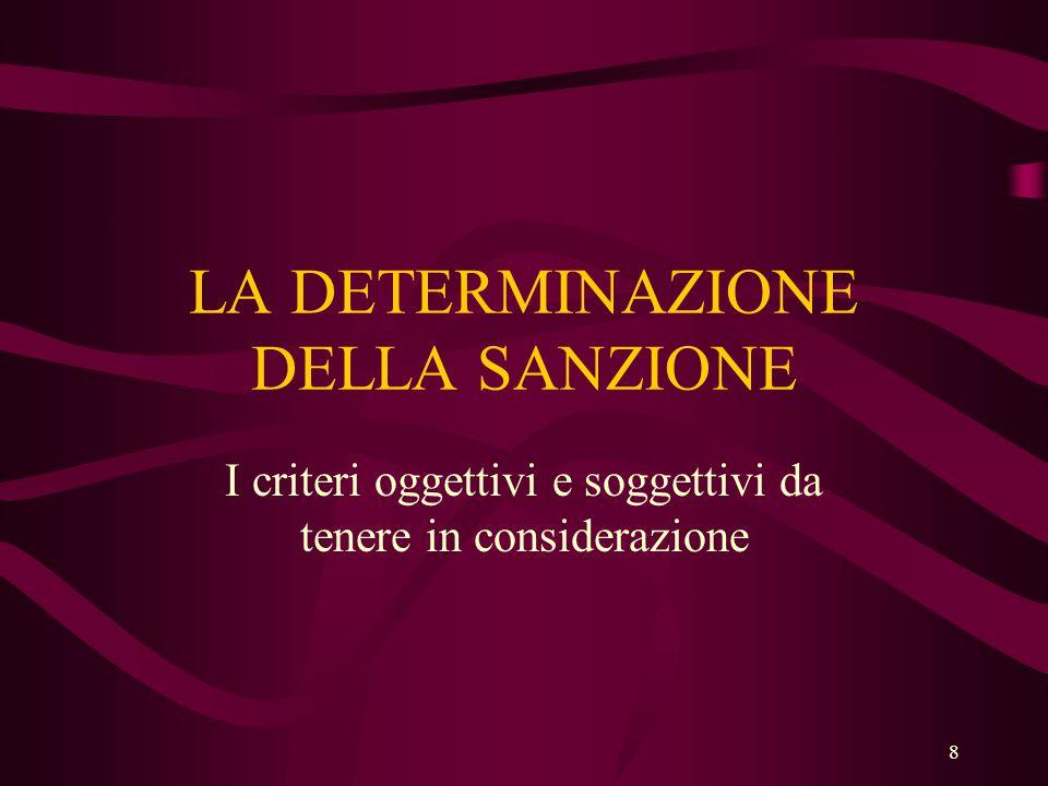 8 LA DETERMINAZIONE DELLA SANZIONE I criteri oggettivi e soggettivi da tenere in considerazione