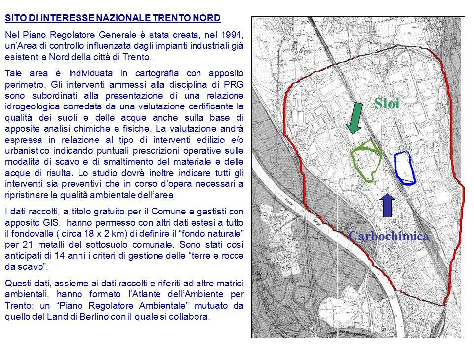 SITO DI INTERESSE NAZIONALE TRENTO NORD Nel Piano Regolatore Generale è stata creata, nel 1994, un'Area di controllo influenzata dagli impianti industriali già esistenti a Nord della città di Trento.