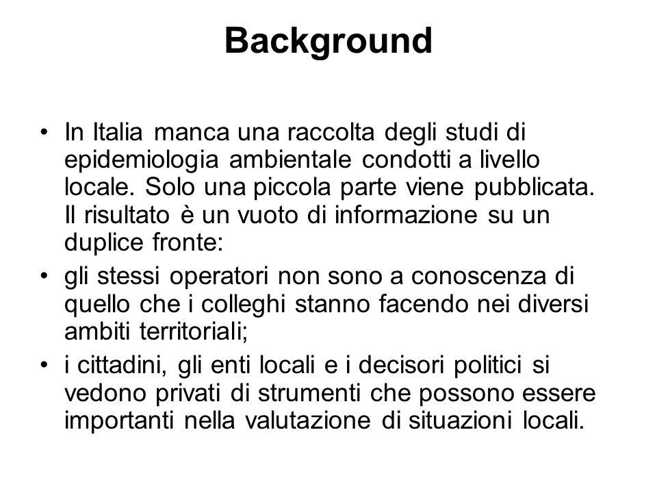 Background In Italia manca una raccolta degli studi di epidemiologia ambientale condotti a livello locale.
