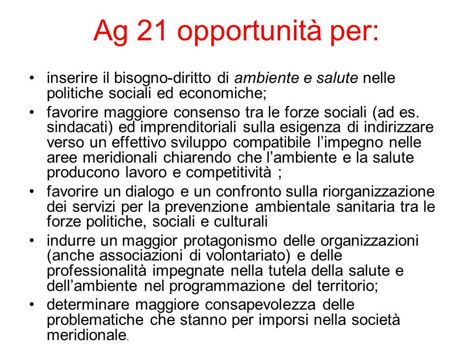 Ag 21 opportunità per: inserire il bisogno-diritto di ambiente e salute nelle politiche sociali ed economiche; favorire maggiore consenso tra le forze sociali (ad es.