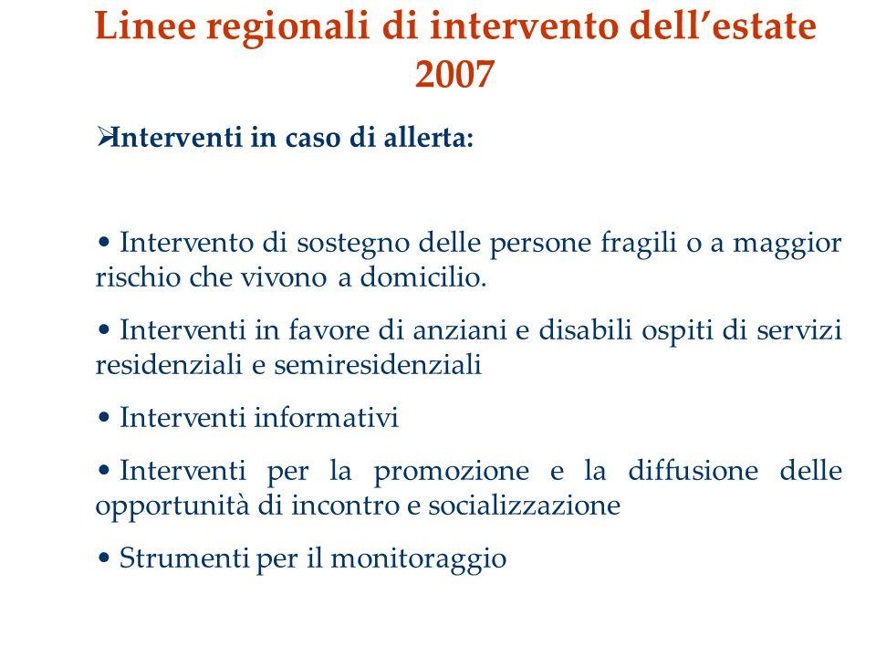 Linee regionali di intervento dell'estate 2007  Interventi in caso di allerta: Intervento di sostegno delle persone fragili o a maggior rischio che vivono a domicilio.