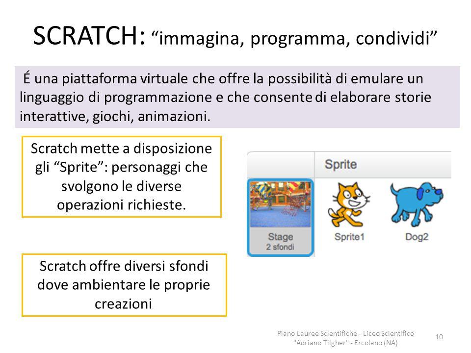 "SCRATCH: ""immagina, programma, condividi"" Scratch offre diversi sfondi dove ambientare le proprie creazioni. Scratch mette a disposizione gli ""Sprite"""