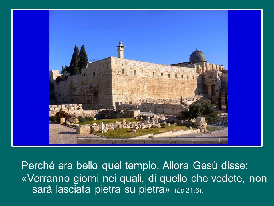 il Vangelo di questa domenica (Lc 21,5-19) consiste nella prima parte di un discorso di Gesù: quello sugli ultimi tempi. Gesù lo pronuncia a Gerusalem